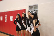 Six of the seven senior dance team members, Bhavana Channavajjala, Vivian Fang, Cece Xiao, Kathryn Wen, Jennifer Song and Andrea Tse (from left to right) get their pictures taken for senior night.