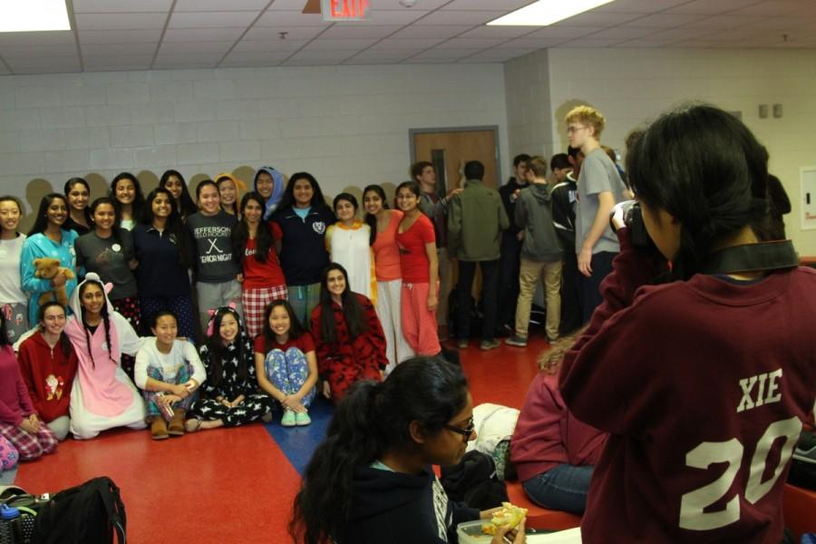 Many students wore their pajamas to school during Active Mindss pajama day. Sophomore class council treasurer Sherry Xie takes a photo of sophomores showing their support of mental wellness.