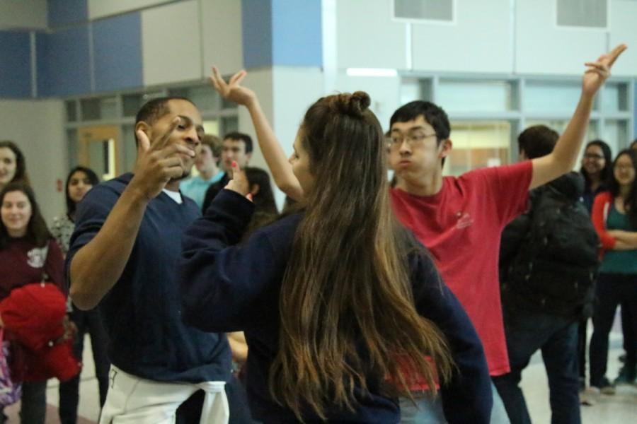 Throughout the week, Active Minds allowed students to play Just Dance in the Nobel Commons. Senior Connor Jones, freshman Christina Blake, and senior Adam An use this opportunity to dance to Get Low, by Dillon Francis and DJ Snake during lunch.