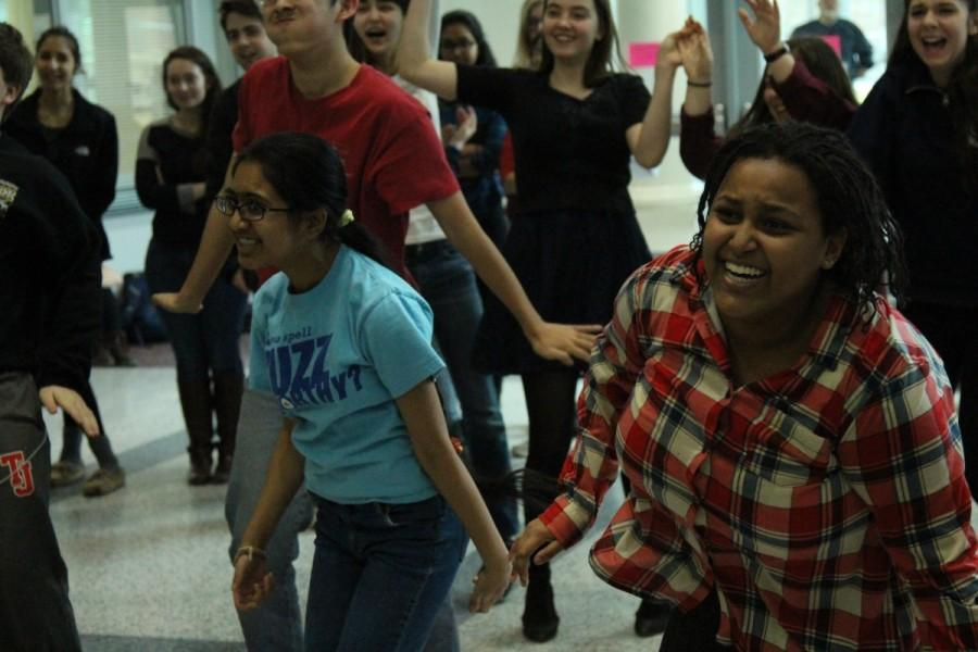 Many songs were available for students to dance to during lunch. Freshmen Beza Gi and Ankita Vadiala, for instance, dance along to Let it Go, from Just Dance 2015.