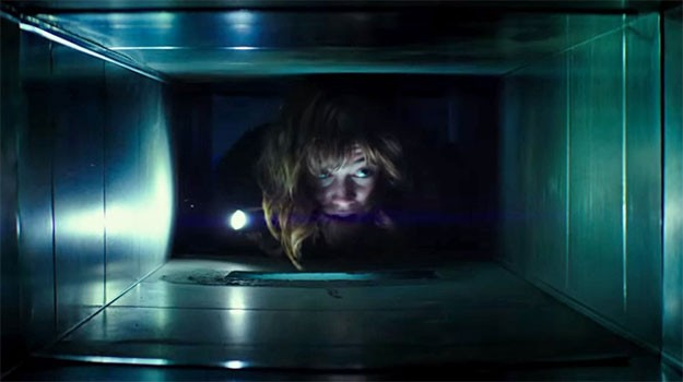 Photo courtesy of www.theverge.com. Michelle, played by actress Mary Elizabeth Winstead, crawls through the ventilation shaft of the underground bunker to try and repair the air filtration unit. 10 Cloverfield Lane was released on Friday, March 25, and was well-received by the public.