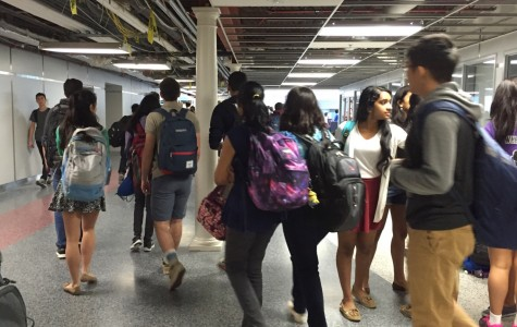 Students walk around the building during the school day. The FCPS school board decided to begin the upcoming school year after Labor day.