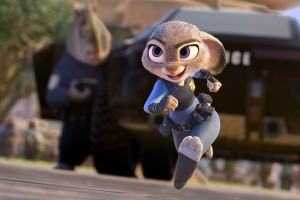 "Judy Hopps (Ginnifer Goodwin) eagerly does her job as a police officer. ""Zootopia"", released on March 4, was directed by Byron Howard and Rich Moore."