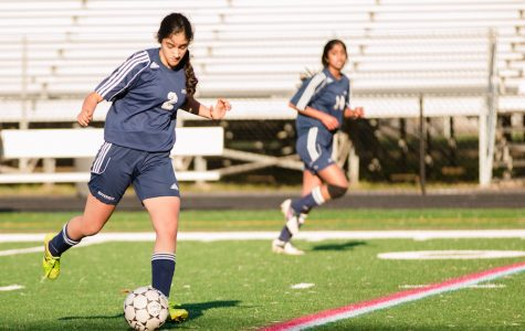 Rhea Nandra moves the ball down the field. The Jefferson JV girls soccer team won against Lee High School on April 18.