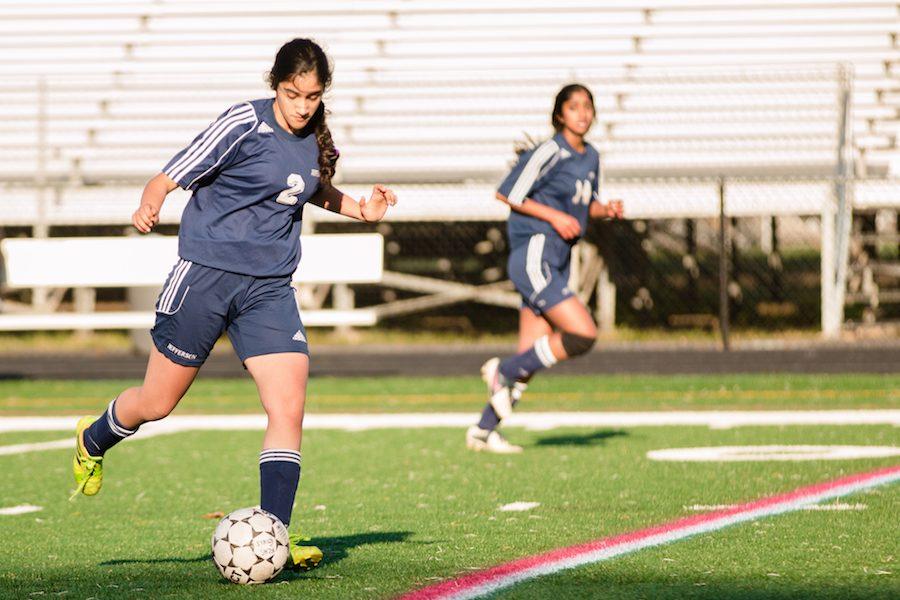 Rhea Nandra moves the ball down the field. The Jefferson JV girls soccer team won against Lee High School on April 18.