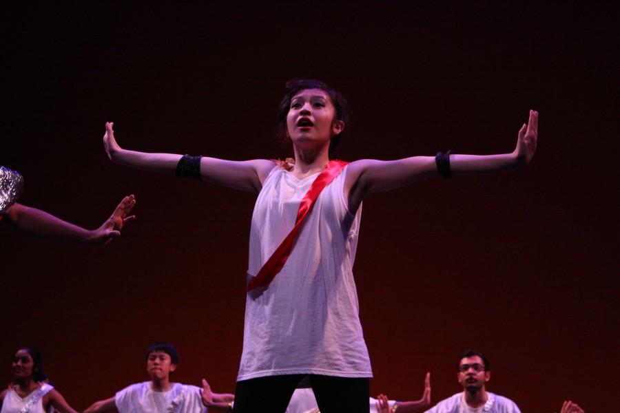 Sophomore Katherine Barbano perform in Latin Honor Society's dance.