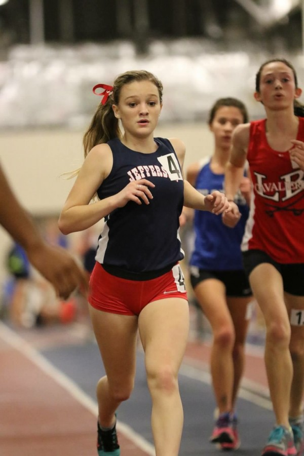 Junior+Nora+Thompson+gives+her+all+at+a+track+meet.++Thompson+has+been+participating+in+Jefferson+track+since+freshman+year.
