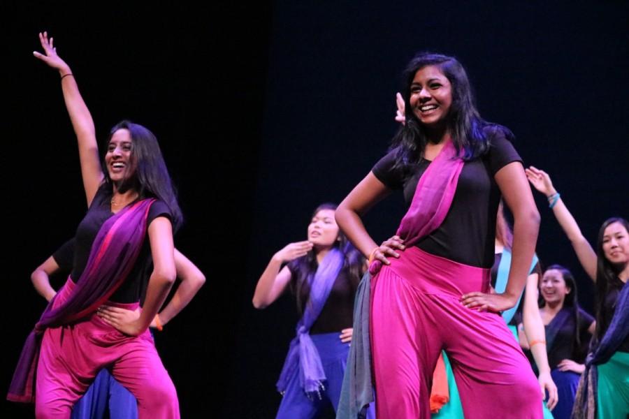 Students like sophomore Shivani Mullapadi (left) and junior Divya Shan (right) enjoyed themselves as they danced in Namaste Underclassmen Girlss dance.