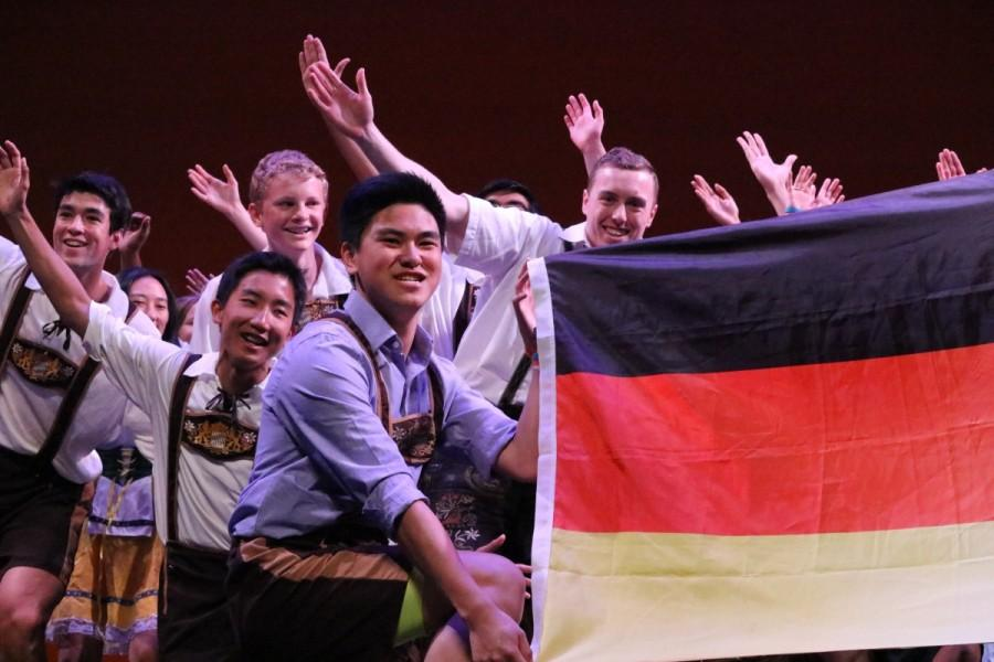 German Honor Society (GHS) strikes a pose as their performance comes to a close.
