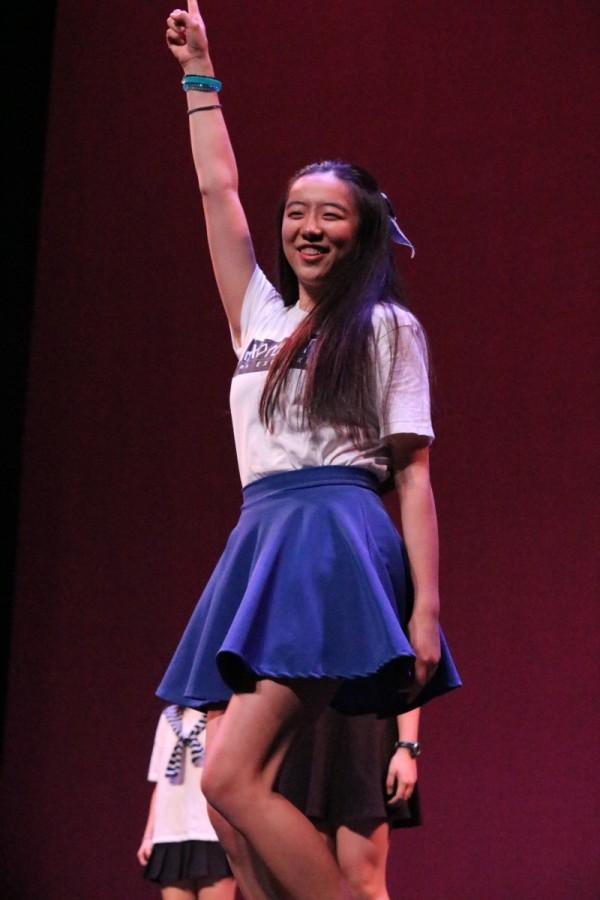 Senior Christine Li prepares to turn it up during Korean Culture Clubs dance.