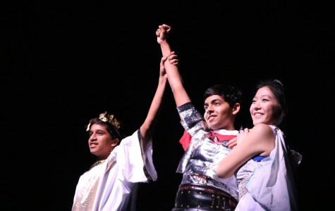 With their first time on the stage, Latin Club puts on a powerful performance with the help of junior Akshay Balaji (left), junior Prathik Naidu (middle) and senior Irene Song (right).
