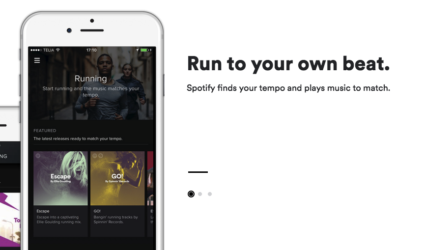 Spotify's new running feature tracks the user's tempo and selects tracks to match.