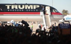 Donald Trump gets off his plane to speak at a rally.  Family and friends of Jefferson students have mixed opinions on Donald Trump and a Trump presidency could affect the U.S. and the world.