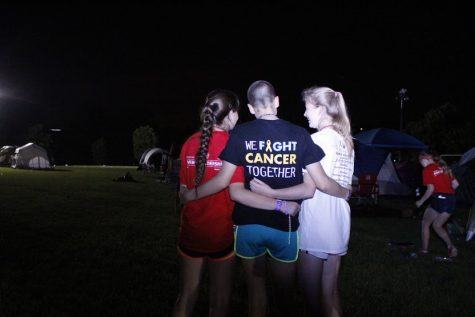 Freshman Mallory Brodnick (center) at the Relay for Life event on June 4, 2016. She raised more money than any other student at Jefferson.