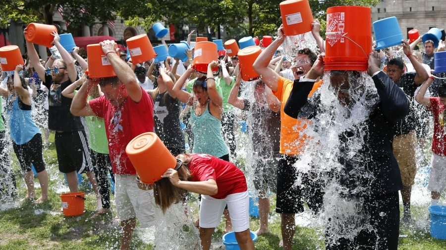 The ALS Ice Bucket Challenge encouraged participants to pour ice water onto their heads or donate to the ALS Association.  The association received 1.35 million dollars in donations in the same two-week time period during which they raised 22000 dollars the year before as a result of the challenge.