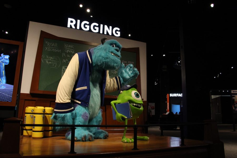 Upon entering The Science Behind Pixar, visitors are greeted by Monsters, Inc characters that demonstrate rigging.