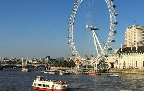The London Eye overlooks the Thames River. Less than ten years ago, this was the tallest ferris wheel in the world.