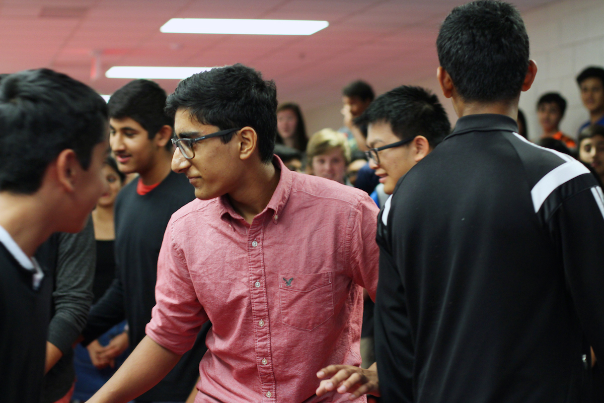 Sophomore Aaron Wadhwa performs with his friends before asking sophomore Stuthi Iyer to homecoming.