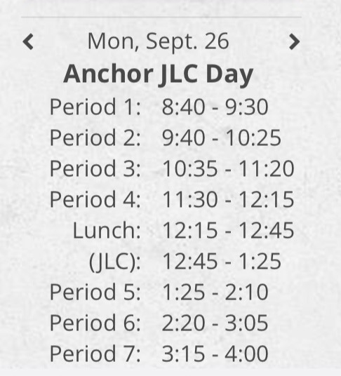 On anchor days students have every single class, which results in more time spent tranisitoning and less time learning.