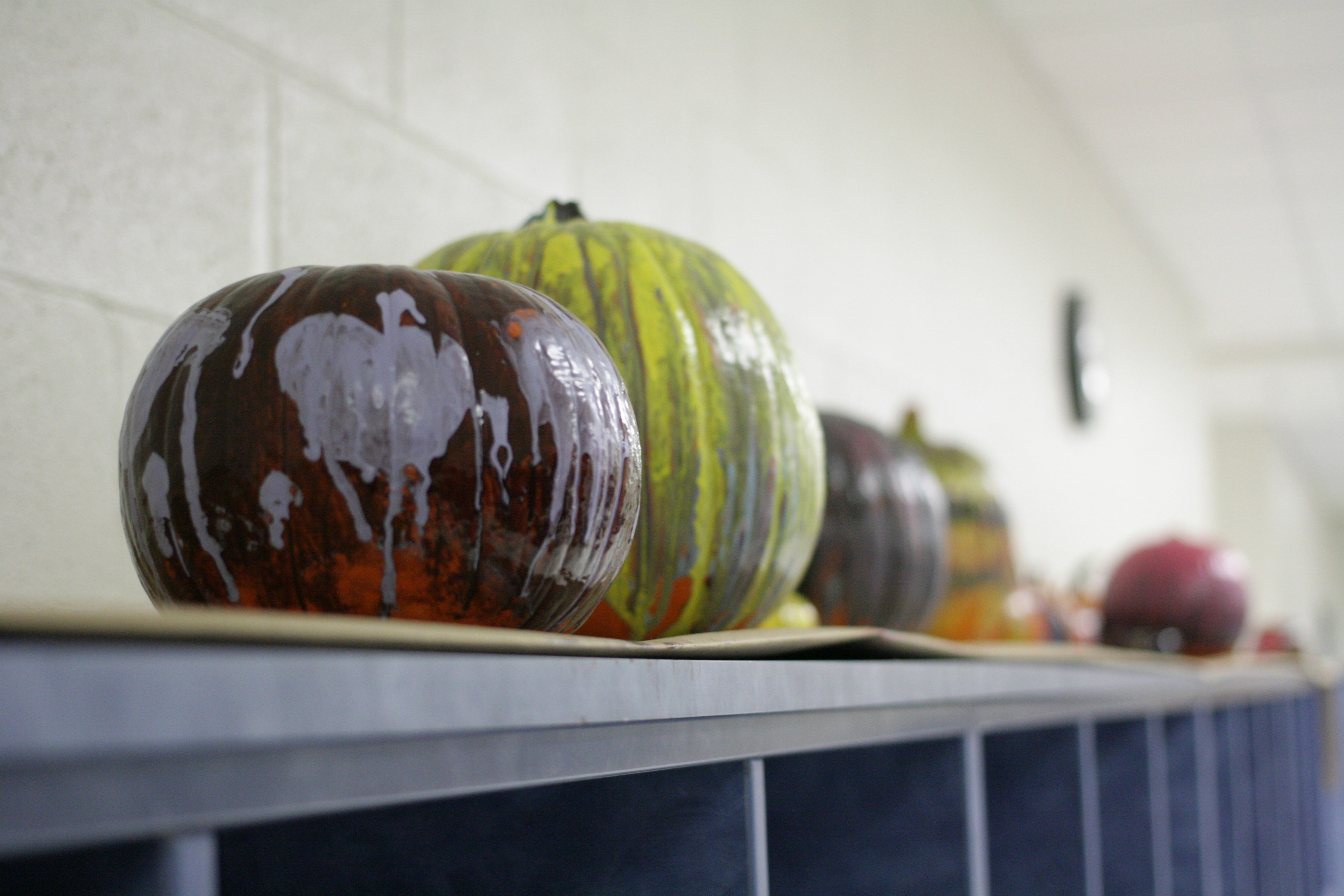 Halloween-themed pumpkins Rotary Interact painted for a local children's hospital.