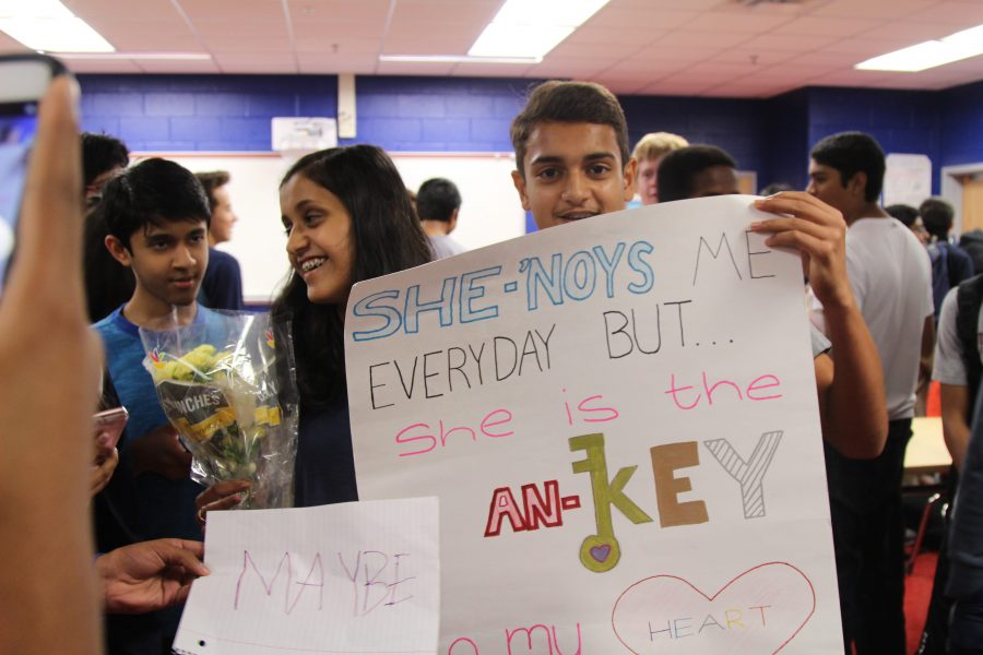 Freshman Aarush Agashe asks freshman Ankitha Shenoy to homecoming with a dance to the tune of Cold Water by Major Lazer ft Justin Bieber.