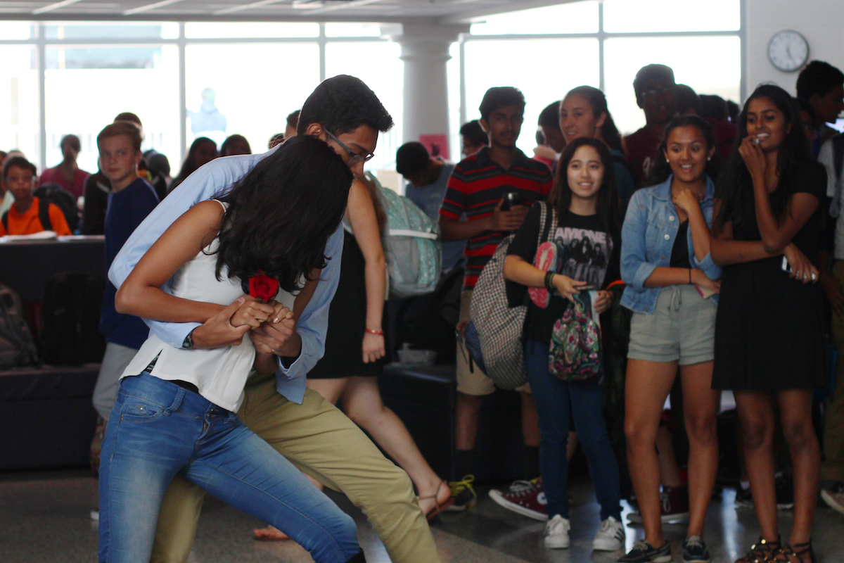 Junior Ishaan Dey and sophomore Pari Parajuli dance together at their homecoming asking.