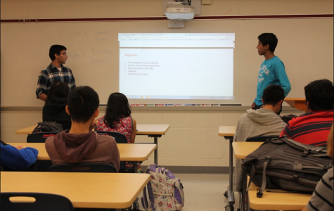 Club secretary Sachin Jain and president Sidharth Rampally introduce their club, MIT Launch. The club had its first meeting on Oct. 28 in the Optics Lab.