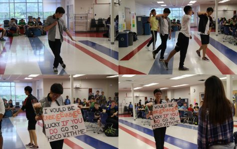 """Senior Andrew Wang asks senior Rachel Lee to homecoming """"with a K-Pop dance to the tune of """"If You Do"""" by 니가 하면."""