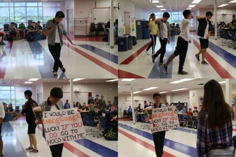 "Senior Andrew Wang asks senior Rachel Lee to homecoming ""with a K-Pop dance to the tune of ""If You Do"" by 니가 하면."