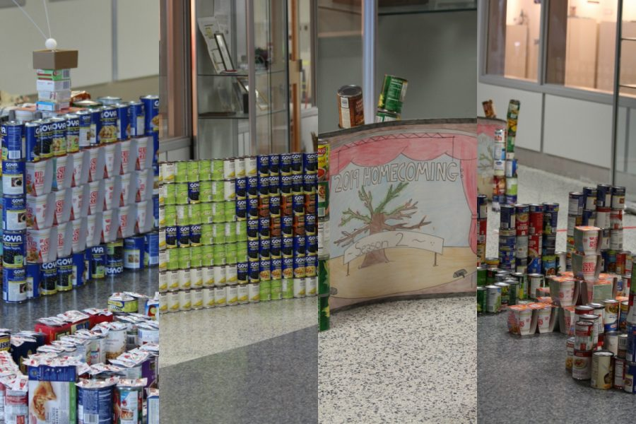 From left to right, class of 2017, 2018, 2019 and 2020's canned food sculptures.