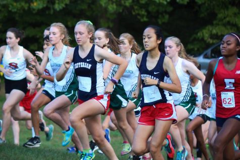Juniors Margaret Covey and Sherry Xie begin their race.