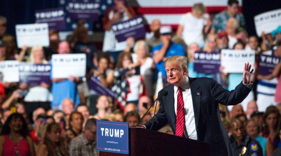 Donald Trump speaking at one of his political rallies in 2015.