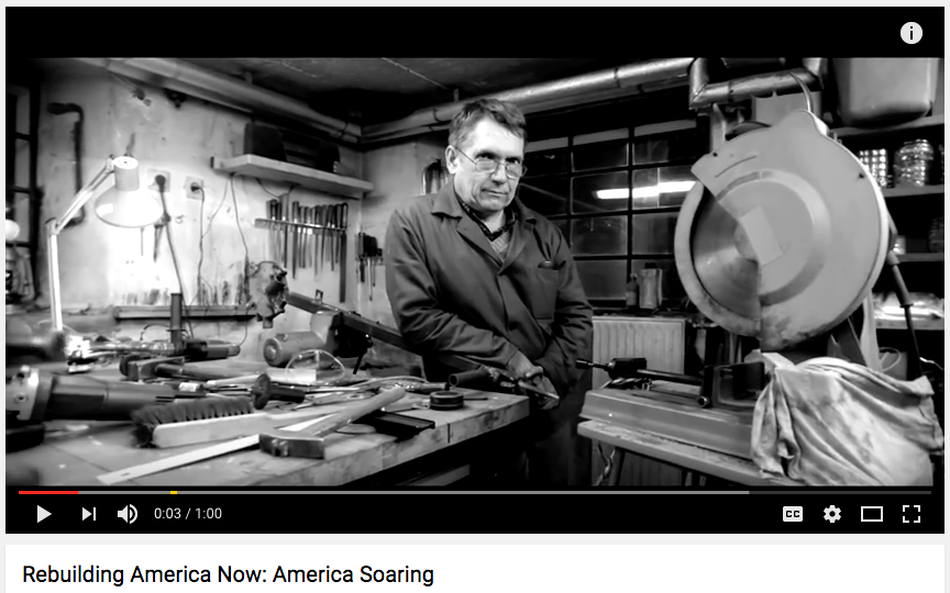 AMERICA SOARING || Donald Trump https://www.youtube.com/watch?v=NMNZTcGSHLg  Paid for by Building America Now, this campaign ad focuses on Trump's promise to provide new jobs for American workers and to use more domestic resources, specifically American steel, to advance the country.
