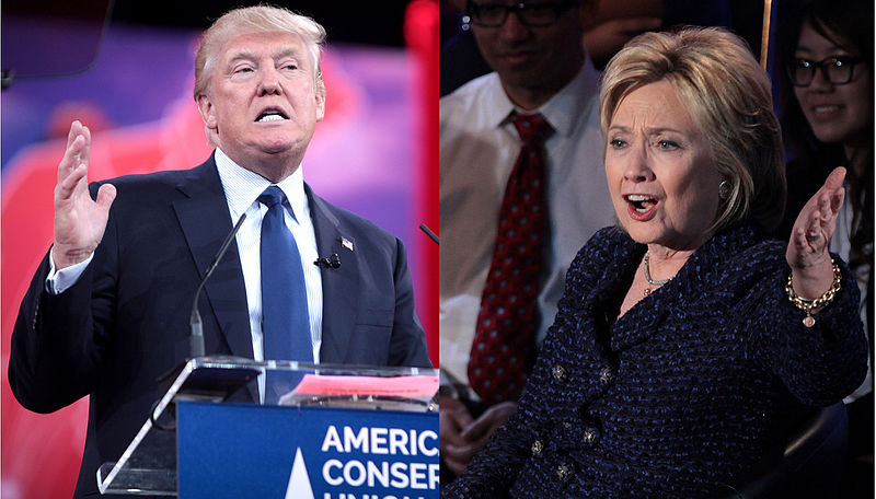 Donald Trump and Hillary Clinton face off in the 2016 presidential debate.