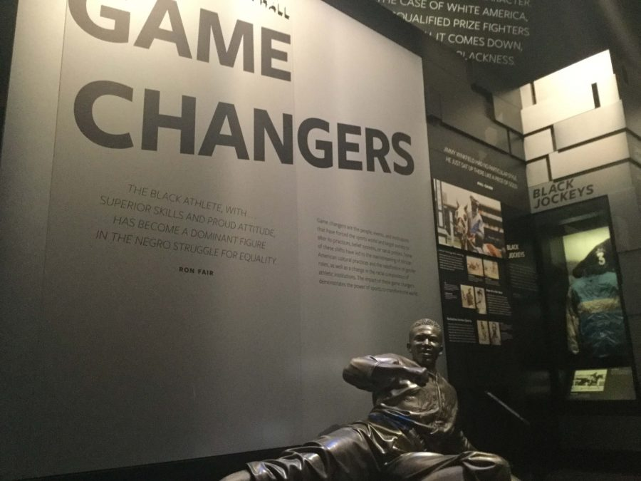 This statue introduces an exhibit that highlights important turning events and pivotal figures in the history of American-American athletics.