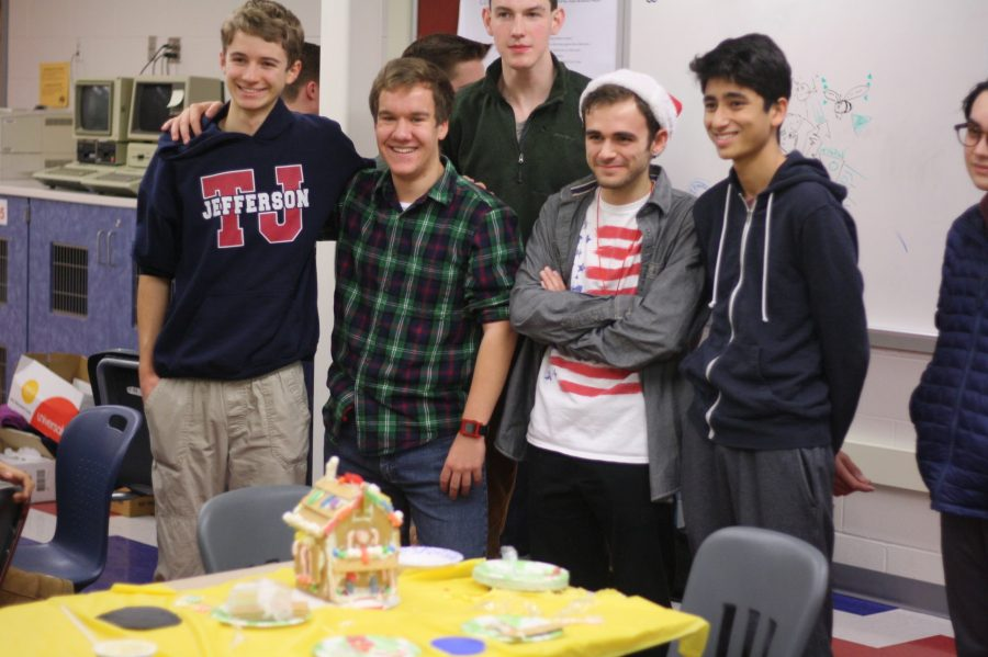 Juniors Brian Stephan, Michael Krause, Tadek Kosmal, William Briffa, and Neel Shah create the first place gingerbread house within 30 minutes.
