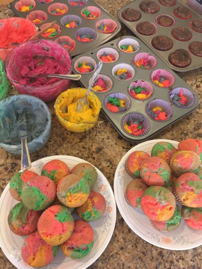 A+variety+of+baked+goods%2C+such+as+rainbow+cupcakes+and+brownies%2C+were+made+and+sold+at+the+She%E2%80%99s+the+First+bake+sale.+Photo+courtesy+of+Aishani+Pal.
