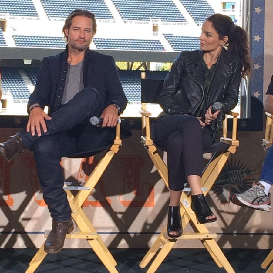 Actors+Josh+Holloway+and+Sarah+Wayne+Callies+sit+down+with+Nerdist+Channel+%28YouTube%29+at+the+ComicCon+2016+event+Camp%0A+Conival.