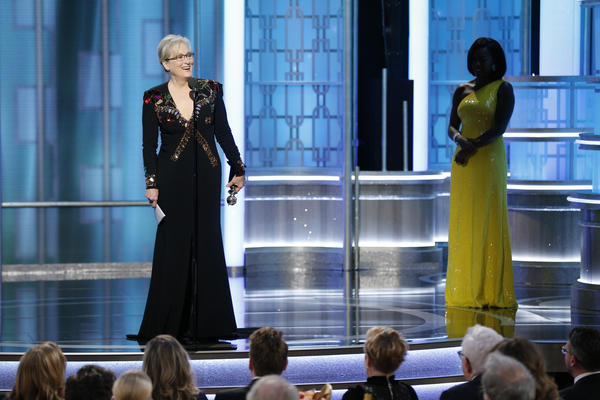 Courtesy of the LA Times: Meryl Streep accepting her Cecil B. DeMille Award from Viola Davis