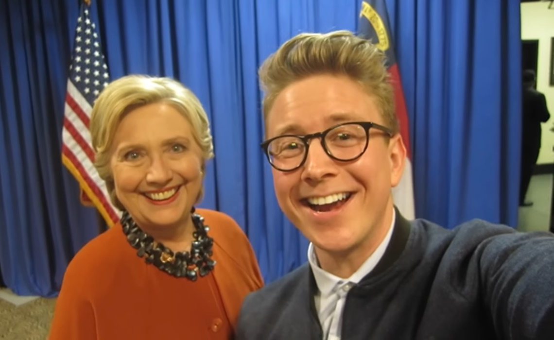 Tyler Oakley with Hillary Clinton the day before the 2016 presidential election.