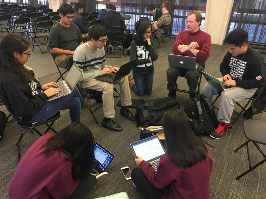 Students from the debate team prepare for their upcoming tournament.  Photo courtesy of Ankit Agrawal.