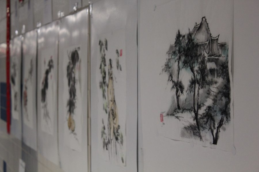 Traditional ink wash paintings for auction.