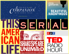 The colorful logos of podcast and radio shows beloved by the featured students in this article.