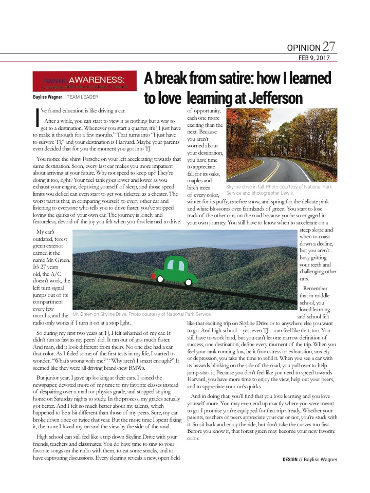 This article was originally published in the February 2017 print issue of tjTODAY. Design and illustration by Bayliss Wagner.