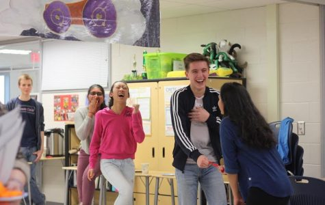 From left to right: Hugo Stevenson, Sai Chodavarapu, Curtis Nichols, and Aishani Pal. Students partake in the Ancient Roman tradition of Lupercalia in Magistras Lister and Conklin's classroom.