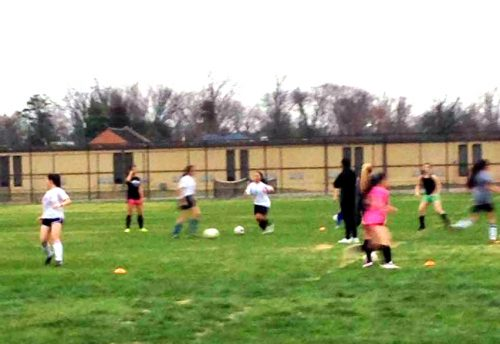 The Girl's soccer team holds their second practice of the year on Tuesday.