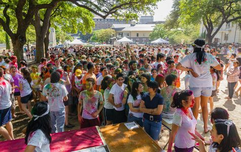 Students at the University of Texas at Austin celebrate Holi in 2012. Photo courtesy of Flickr user Karen Dodia, CC BY S.A. 2.0.