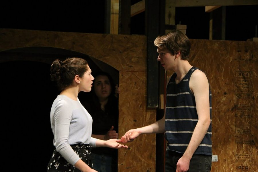 Jennifer+Steele%2C+who+played+%C3%89ponine%2C+and+Evan+Strong%2C+who+played+Marius+Pontmercy%2C+rehearse+a+scene+from+%E2%80%9CLes+Mis%C3%A9rables%E2%80%9D+before+the+show.+Photo+courtesy+of+Patty+Vitsupakorn.