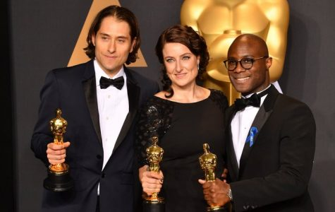 Producers Jeremy Kleiner, Adele Romanski, and director Barry Jenkins winners for Best Picture for Moonlight