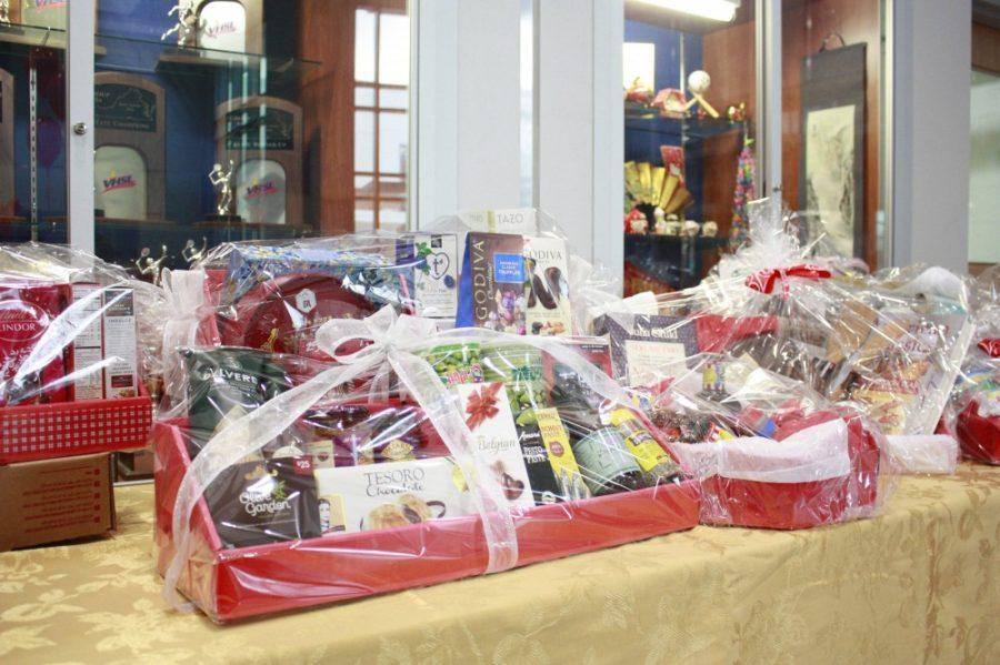 Baskets of snacks and prizes for the silent auction.